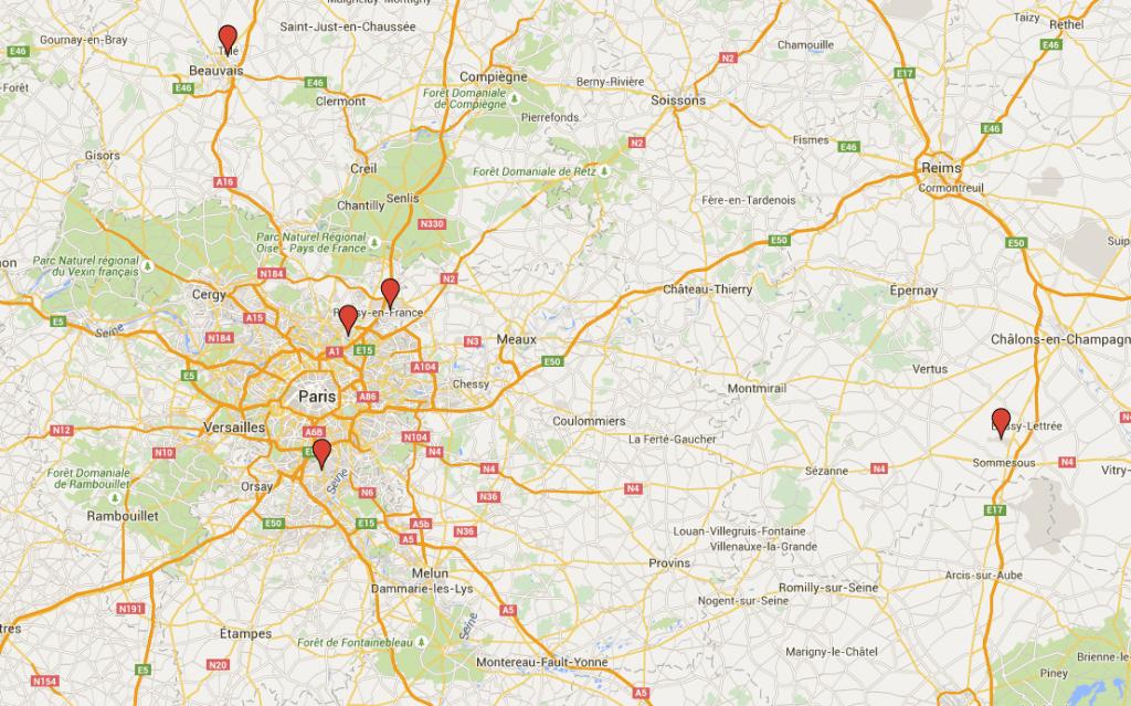 Alle 5 lufthavne i Paris.