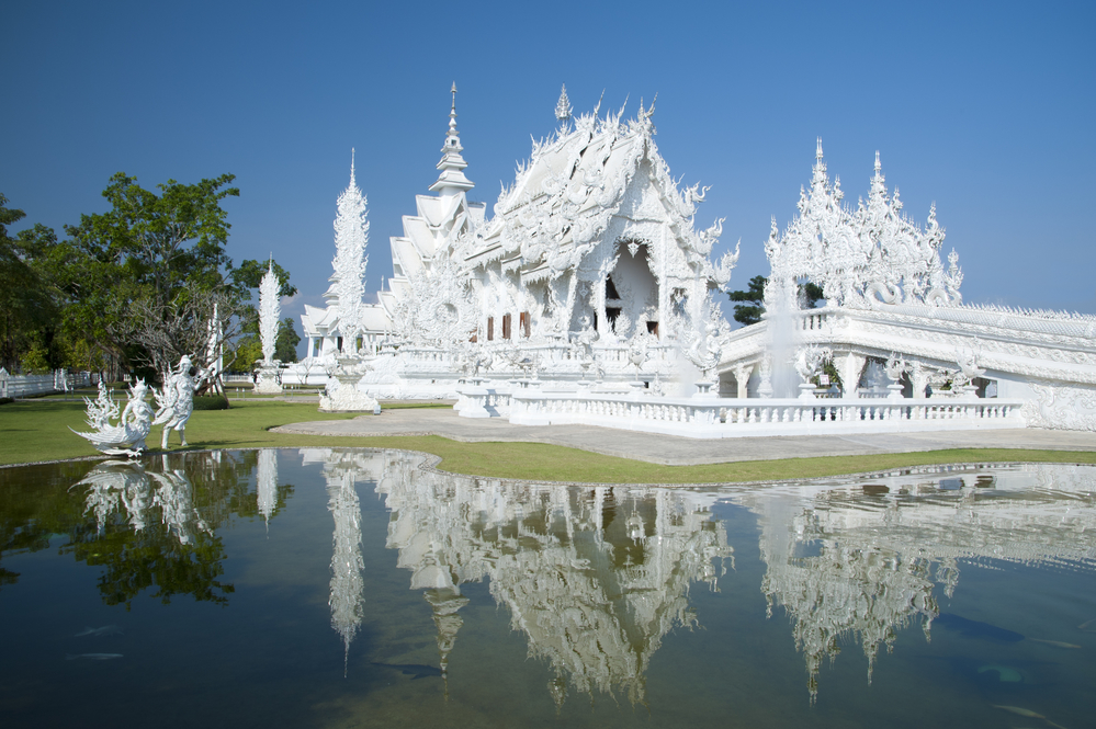 Beautiful ornate white Temple located in Chiang Rai northern Thailand